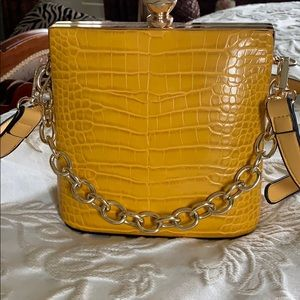 Cute mock croc bag with gold chain